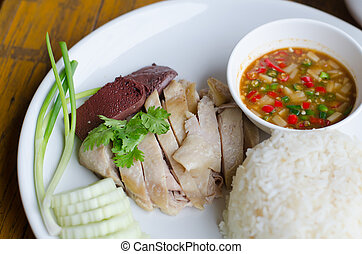 rice steamed with chicken soup - rice steamed with chicken...