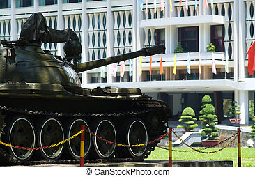 Old tank at the Reuinification Palace in Ho Chi Minh City -...