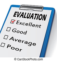 evaluation clipboard with check boxes marked for excellent,...