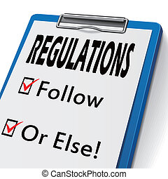 regulations clipboard with check boxes marked for follow and...