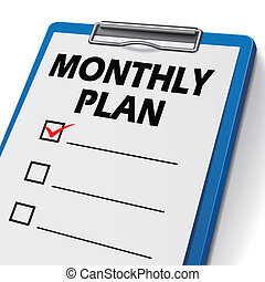 monthly plan clipboard with check boxes on it