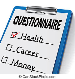 questionnaire clipboard with check boxes marked for health,...
