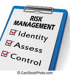 risk management clipboard with check boxes marked for...