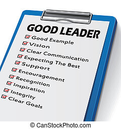 good leader clipboard with check boxes marked for leadership...