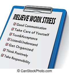 relieve work stress clipboard with check boxes marked for...