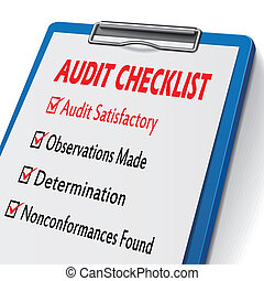 audit checklist clipboard with check boxes marked for...