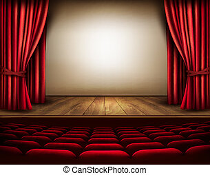 A theater stage with a red curtain, seats Vector
