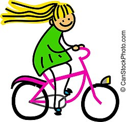 Bicycle Girl - Whimsical cartoon illustration of a happy...