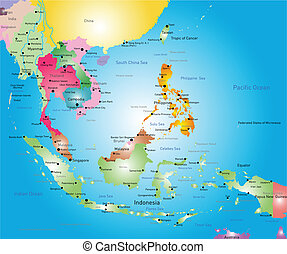 southeast asia map - Vector color southeast asia map