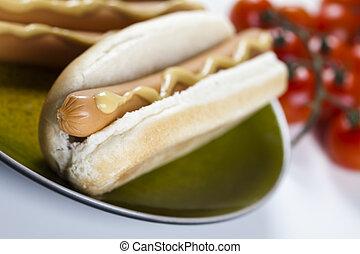 Hot Dog isolated on white - American hot dog