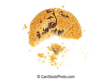 Half eaten chocolate chips cookie isolated on white...