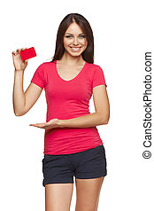 Gift card Excited woman showing empty blank paper card sign...