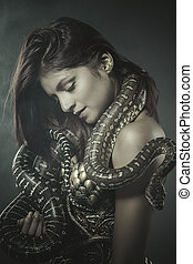 beautiful woman with an Australian python