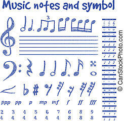 Handwritten musical notes on white background, vector...