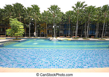 A big swimming pool with water
