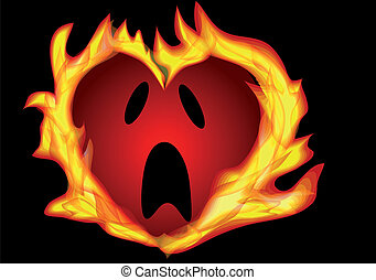 heart burning isolated on a black background
