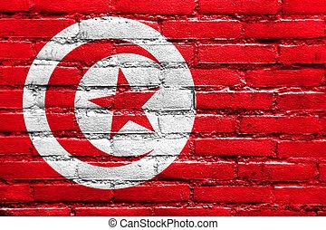 Tunisia Flag painted on brick wall