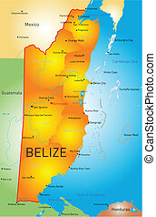 Belize - Vector map of Belize with the capital and cities