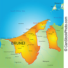 Brunei - Vector color map of Brunei country