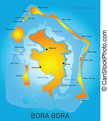 Bora Bora - Vector color map of Bora Bora