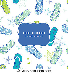 Nautical flip flops blue and green frame seamless pattern background