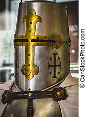 Helmet, medieval armor made of wrought iron - medieval armor...