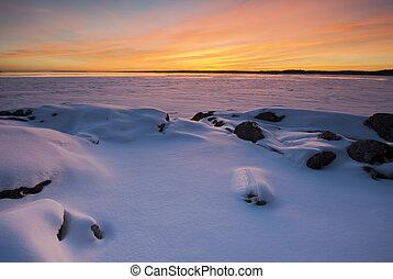 Dramatic sunset at the lake