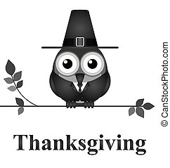 Thanksgiving Day - Comical bird Thanksgiving Day message...