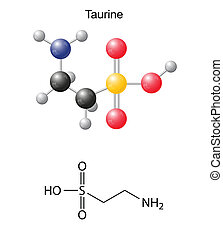 Taurine tau - chemical structural formula and models, amino...