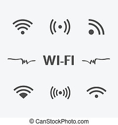 Wifi icons set isolated on white background