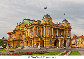 Croatian National Theatre (1895) in Zagreb, Croatia -...