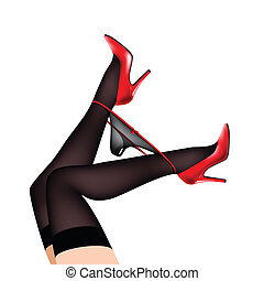 legs in shoes with panties - women's legs in red shoes,...