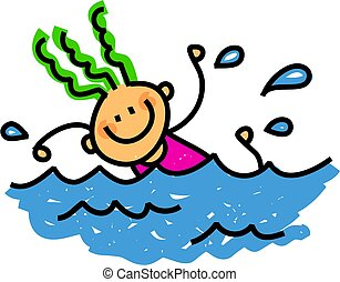 Happy Swimming girl - Whimsical cartoon illustration of a...