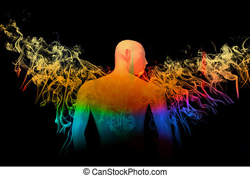 Angel with wings of colorful smoke