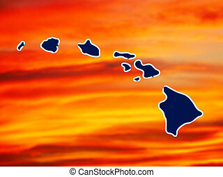 hawaiian islands - map of hawaiian islands with background