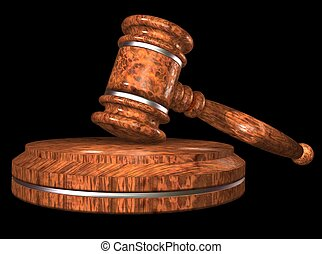 Gavel. - Auction hammer. Wooden gavel on a stand, on a black...