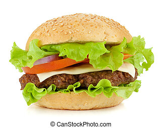 Fresh burger with beef, cheese, onion and tomatoes. Isolated...