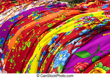 Traditional gipsy dresses fabrics - Detail of colorful...