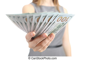 Close up of a business woman hand holding banknotes