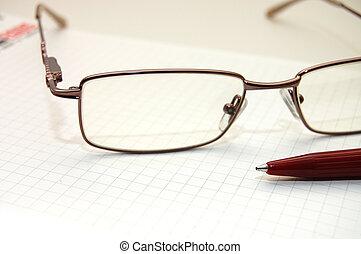 occhio, occhiali, penna, foglio