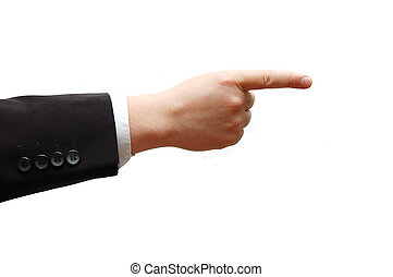 Pointing business man hand, isolated on white background