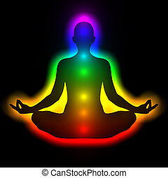 Silhouette of woman in meditation, energy body, aura,...