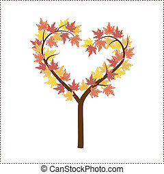 Autumn tree shaped like a heart with maple leaves