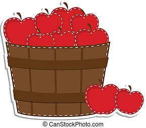 Apples in a barrel or basket on transparent background for...