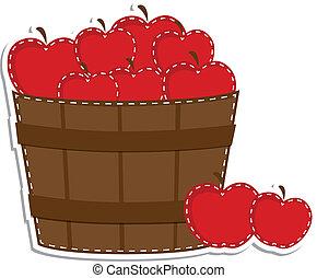 Apples in a barrel or basket on transparent background for...