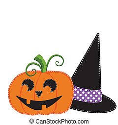 Pumpkin or jack o lantern and witches hat vector on...