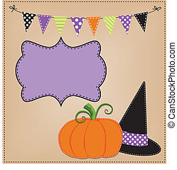 Pumpkin or jack o lantern and witches hat template or layout...