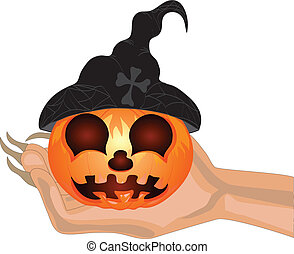 Terrible Pumpkin on a hand at witch.Halloween. Vector illustration