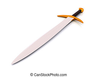 security objects -  single sword on white. 3d