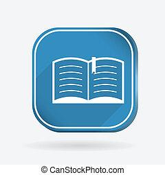 open book. Color square icon